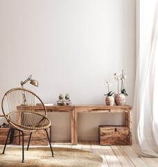 Cozy farmhouse living room interior, 3d render - fototapety na wymiar