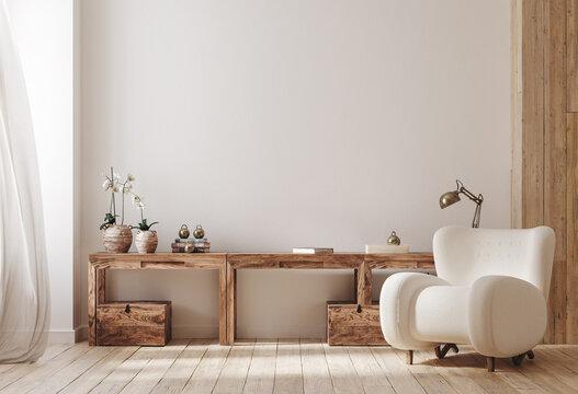Cozy farmhouse living room interior, 3d render