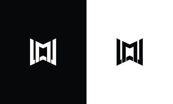 MW or WM letter logo design vector.