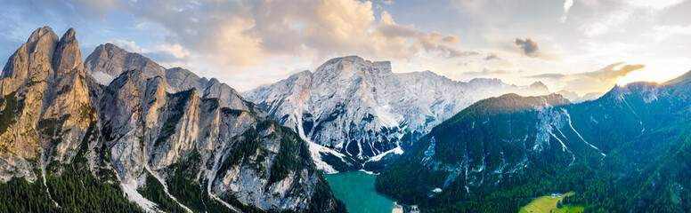 Braies lake sunset aerial panorama  - fototapety na wymiar