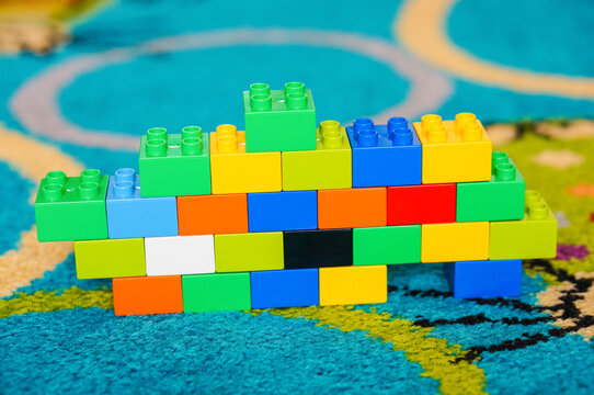 POZNAN, POLAND - Jul 08, 2016: Lego Duplo block wall