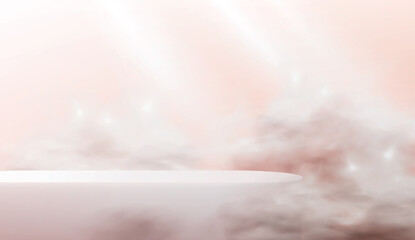 Fototapeta Abstract 3d podium on a pink background. A realistic scene with an empty cosmetics showcase in the clouds in pastel colors. obraz