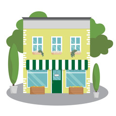 Obraz Vector house. Apartment building with residential second floor. Store facade with awning. Street vegetable shop. Flat style illustration. Colorful townhouse icon. - fototapety do salonu