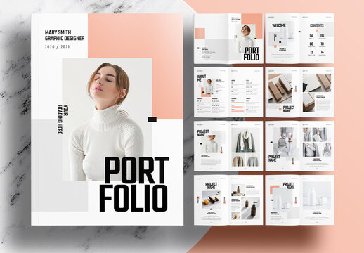 Portfolio Layout with Pink and Gray Accents