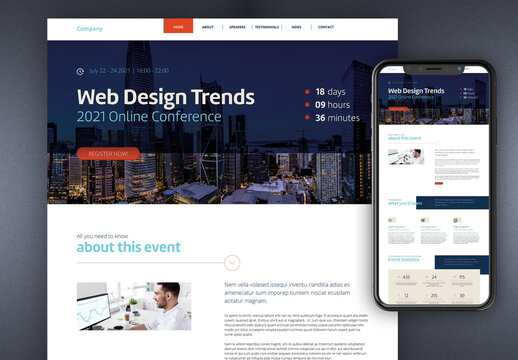 Online Event Landing Page with Blue and Red Accents