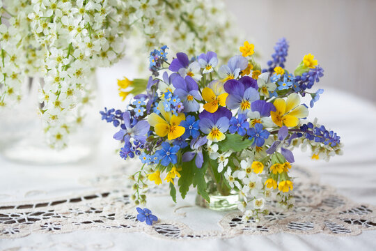 A bouquet of spring blue, yellow flowers in a vase on the table. Pansies, forget-me-nots, primroses, bird cherry, violets, muscari. Postcard, blur, selective focus.
