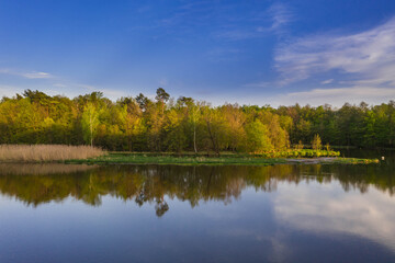 Rzeka Bóbr w okolicach miasta Żagań. - fototapety na wymiar