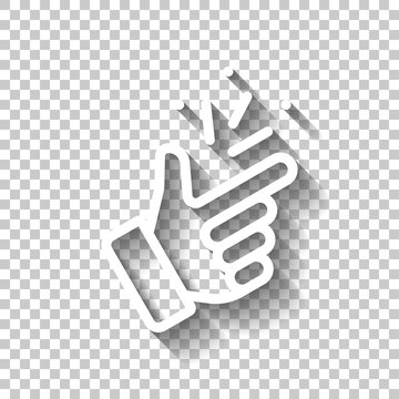 Snap finger, sign of easy, simple icon. White linear icon with editable stroke and shadow on transparent background
