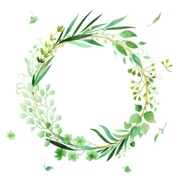 Hand-drawn watercolor floral wreath frame made in vector.