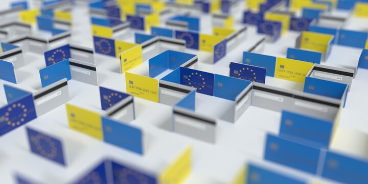 Fictional credit card maze with flag of the European Union. Financial difficulties related 3D rendering