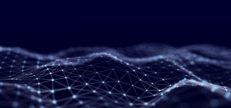 Network connection data structure. Information technology. Big data visualization. 3D rendering.