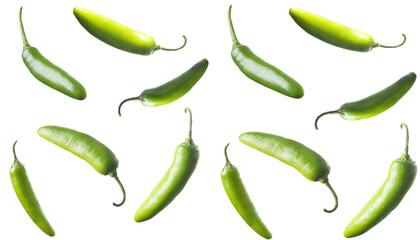 Grupo de Chiles serranos en una composición