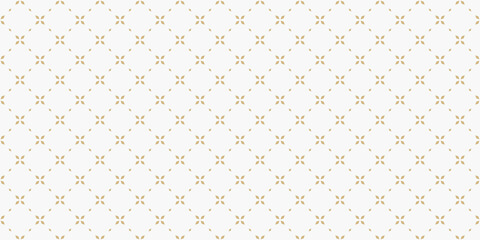 Obraz Golden minimal floral geometric seamless pattern. Simple vector white and gold abstract background with small flowers, tiny crosses, grid, lattice. Subtle minimalist repeat wide texture. Luxury design - fototapety do salonu