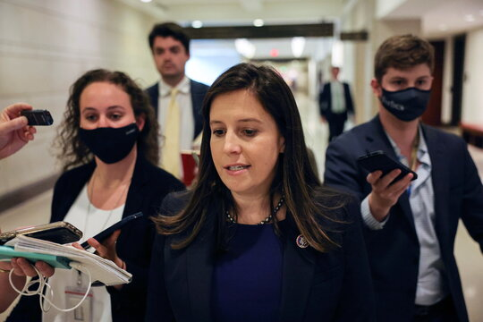 U.S. Representative Elise Stefanik (R-NY) leaves a House Republican Caucus candidates forum for the running of GOP conference chair, the third ranking leadership position, on Capitol Hill in Washington