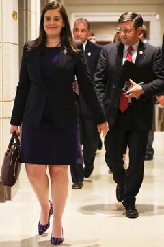 U.S. Representative Elise Stefanik (R-NY) reacts as she leaves a House Republican Caucus candidates forum for the running of GOP conference chair, the third ranking leadership position, on Capitol Hill in Washington