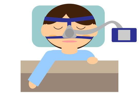 無呼吸症候群治療のため機器を付けて寝る人