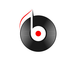 Obraz Vinyl record with music note inside - fototapety do salonu