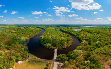 Backwater of Tisza river in Hungary. Amazing aerial panoramic photo about a famous nature area in Near by Kecskemet city next to Toserdo village. - fototapety na wymiar