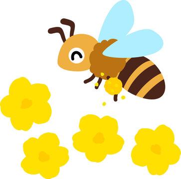 花粉を付けて飛ぶミツバチ