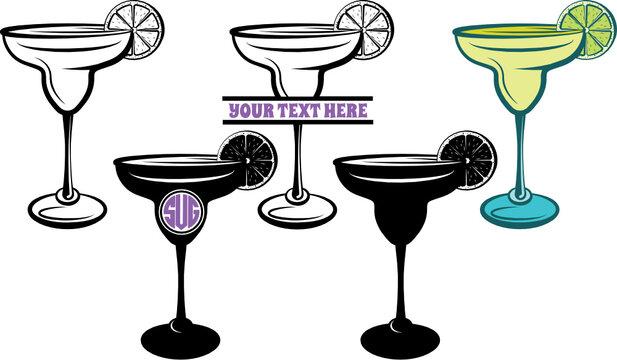 Margarita Glass SVG Cut File   Margarita Glass With Lime Svg   Wine Glass Svg   Lime Svg   Lemon Svg   Split Monogram