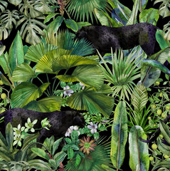 Tropical leaves, panther and orchid. Seamless vintage pattern. Wallpapers with tropical flowers and leaves