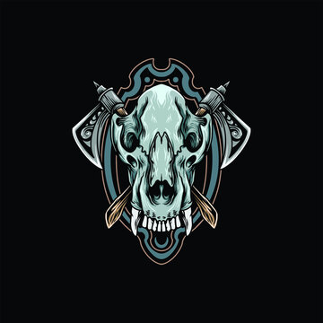 wolf skull with axes and frame vector design