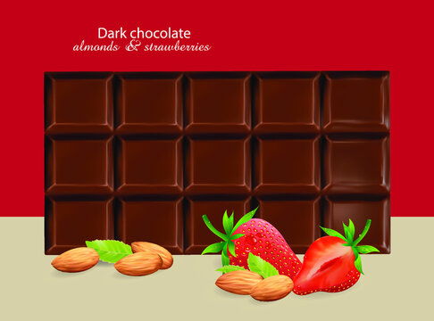 Chocolate bar, almonds and strawberries on a red background. Vector drawing of a set of confectionery ingredients with lettering.