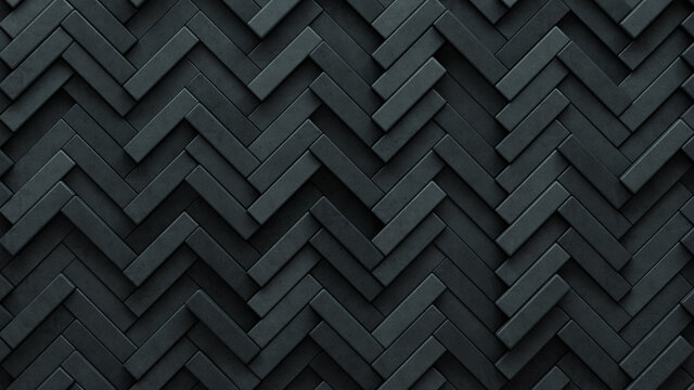Concrete, Semigloss Mosaic Tiles arranged in the shape of a wall. Polished, 3D, Bricks stacked to create a Herringbone block background. 3D Render
