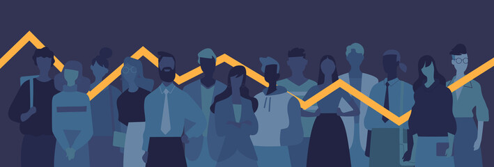 Obraz Gruppo di giovani persone, donne e uomini, grafico statistico di cambiamento - fototapety do salonu