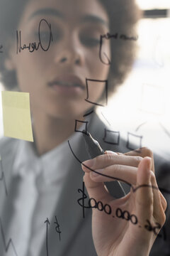 Marker in hand of african american businesswoman drawing on glass board