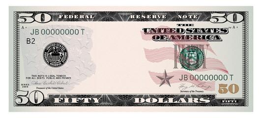 US Dollars 50 banknote -American dollar bill cash money isolated on white background. - fototapety na wymiar