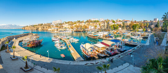 Antalya old harbour view. Harbour is populer tourist attraction in Antalya