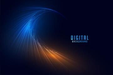 Obraz flowing digital particle lines technology background - fototapety do salonu