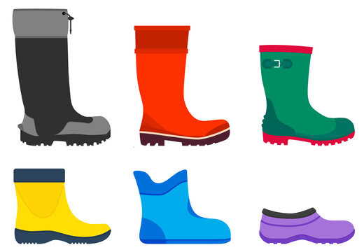 Rubber boots of various shapes. Set of vector illustrations isolated on white background. Wellington boots protect your feet from water, moisture and adverse weather conditions.