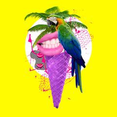 Fototapeta Contemporary art collage, modern design. Summertime mood obraz