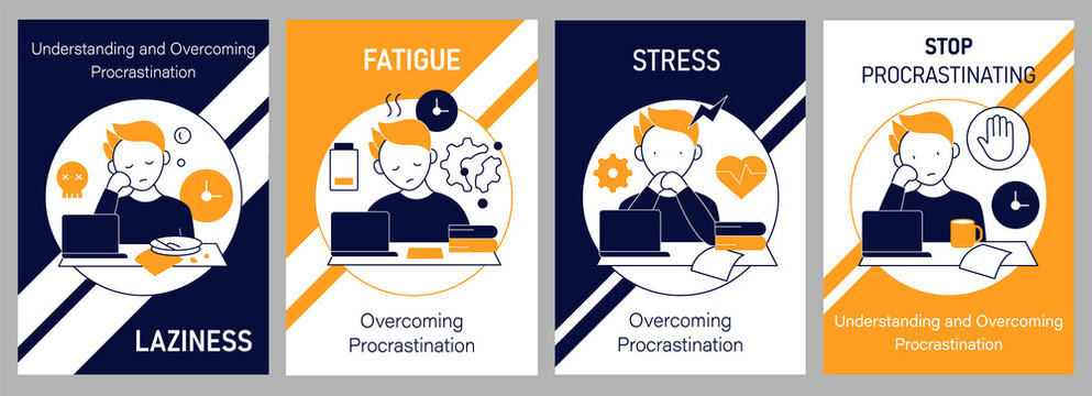 Procrastination brochures icons. Laziness and stress, fatigue and stop procrastinating. Flyers, magazines, posters,booklets. Overwhelmed infographic concept.Layouts illustrations pages with icons