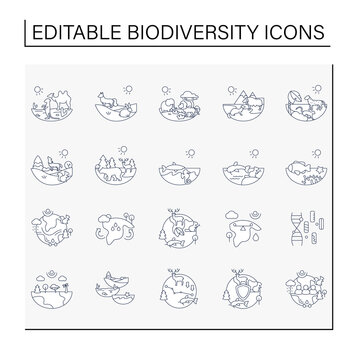Biodiversity line icons set. Consists of desert, grassland, tundra, freshwater, rainforest, coral reef, ecosystem icons. Biodiversity concept. Isolated vector illustrations.Editable stroke