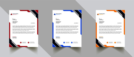 Obraz Modern Abstract Creative Professional letterhead template design with 3 color - fototapety do salonu