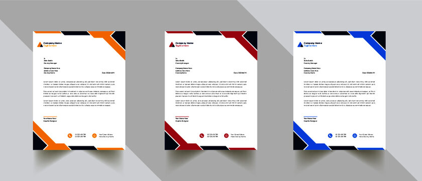 Creative Modern Abstract Professional letterhead template with 3 color