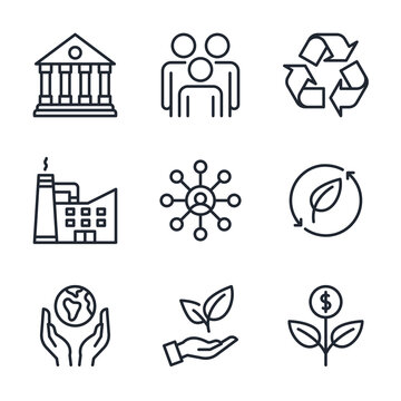 ESG concept. Environmental, social, and corporate governance related editable stroke outline icons set  isolated on white background flat vector illustration. Pixel perfect. 64 x 64.