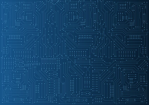 circuit board electronic or electrical line on blue engineering technology concept vector background