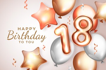 Realistic 18th Birthday Background Wall mural