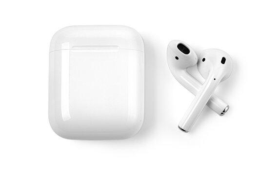 White headphones wireless earphones with case,