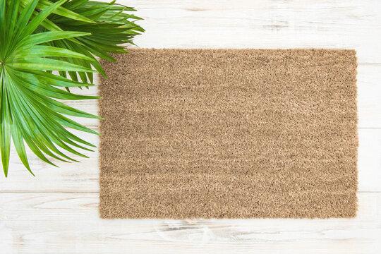 Coir doormat mockup palm leaves decoration Floral template