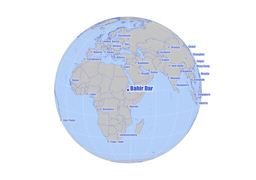 Bahir Dar;Ethiopia map at the center of a global view of the world.  Map showing Bahir Dar;Ethiopia's position on the world map and other major cities around the world.