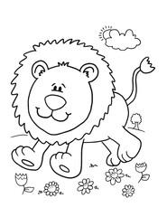 Cute Safari Lion Coloring Book Page Vector Illustration Art