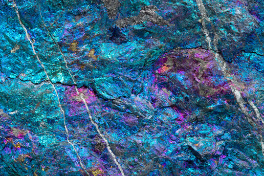Texture Macro Photography of Peacock ore (Chalcopyrite treated with acid) from Mexico; a copper ore