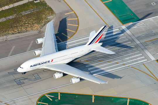 Air France Airbus A380 aerial view. Aircraft model completely retired from Air France fleet. Super heavy long haul A380-800 at Los Angeles Airport USA.