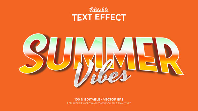 Summer Vibes Retro Color 3d Style Editable Text Effects Template