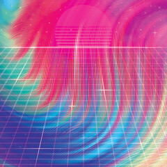 Canvas Prints Pink Abstract Colorful Background Soft Fluid Animation. Retro abstract background futuristic neon landscape 1980s style. Perspective grid in retro style. Digital cyber surface style of the 1980`s.